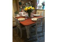 solid mahogany victorian shabby chic extending dining table +4 chairs
