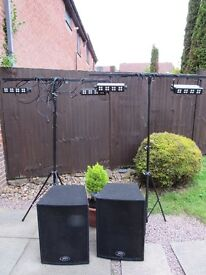 Disco Equipment 4 LED Lights Orion Aspect Peavey pair of speakers 600 watt and stands