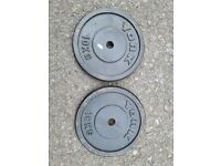 York Cast Iron 10Kg Weight Plates x 2 (1 Inch Hole) - DELIVERY POSSIBLE