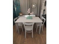 Shabby chic vintage dining table with 4 chairs