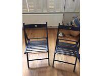 TWO IKEA Terje wood folding chairs black