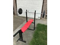 Gym bench + bar + weights