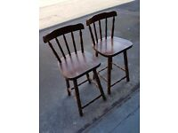 Pair Of Solid Wood Children's Stools (#1093)