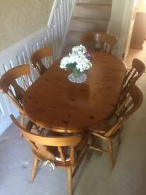Antique pine drop leaf dining table and chairs