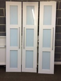 3 wardrobe doors plus sides from a corner fitted wardrobe, white gloss and glass