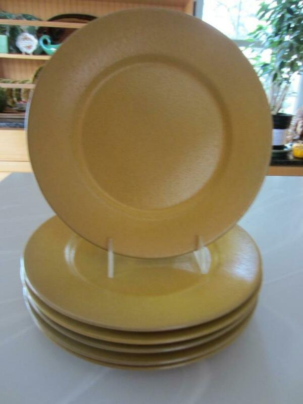 """2 Paul Revere Pottery """"SEG"""" MUSTARD Glazed DINNER Plates 10"""" Boston, MA c1920"""
