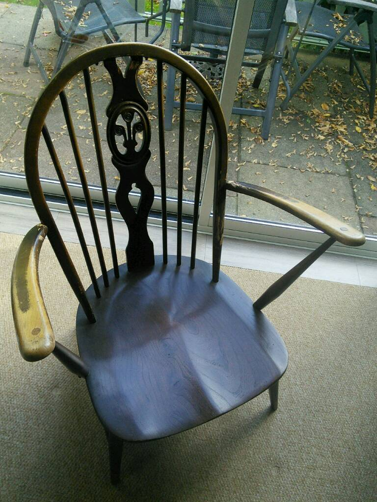 Ercol Fleur De Lys Chair 1960 In Darkwood