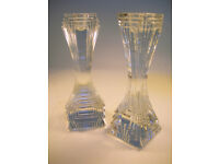 """Collectable Pair of Stunning Heavy Glass Candlesticks 7"""" Tall (WH_1164)"""
