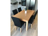 Oak-Effect Dining Table with 6 Chairs