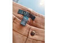 Ralph Lauren (Lauren) beige trousers with gold detail UK size 8