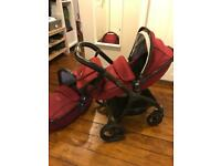 Pram - Egg Stroller and Carry Cot Berry Red