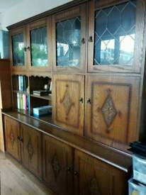 Quality Large Wood And Glass Sideboard Dresser Display Cabinet