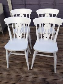 Set of 4 Dining / Kitchen Chairs - solid beech wood, beautifully freshly painted in satin ash white.