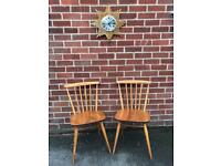 Vintage ERCOL 737 Dining Chairs Stick Back Mid Century RETRO 60s 70s Elm
