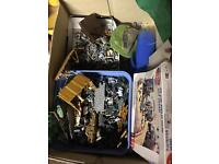 Box of miniature army figures