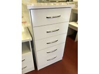 Delivering Today New boxed high gloss white 5 drawer narrow chest tallboy £95