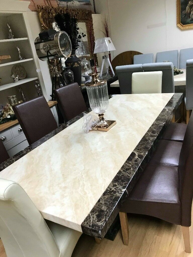 Stunning Tenore Cream Brown Engineered Marble Dining Table Plus 6 Chairs
