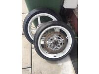 Aprilia rs125 wheels tyres motorbike racing spares wet intermediate dry