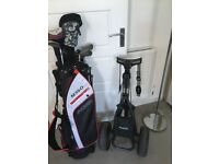 Selection of golf clubs, brand new bag and used trolley. All in very good condition.
