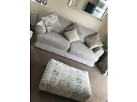 3 seater sofa , 2 seater sofa bed and footstool