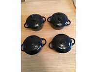 4x Small Ceramic Cooking Pot Approx 10cm diameter