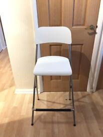 Two ikea fold up kitchen chairs breakfast bar stool white and silver great condition