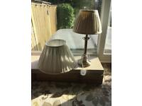 Table lamp with ivory shade