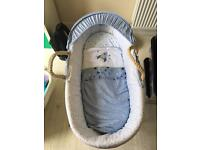 Mothercare space dreamer Moses basket, stand and bedding