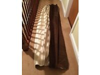 Shot silk, lined curtains. Main colour tobacco brown with ivory edging. 7ft 1 inch drop