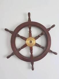 Large nautical ships wheel wall hanging