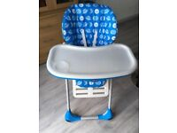 Chicco Polly 2 in 1 Baby-Toddler Foldable Highchair Blue Space Feeding
