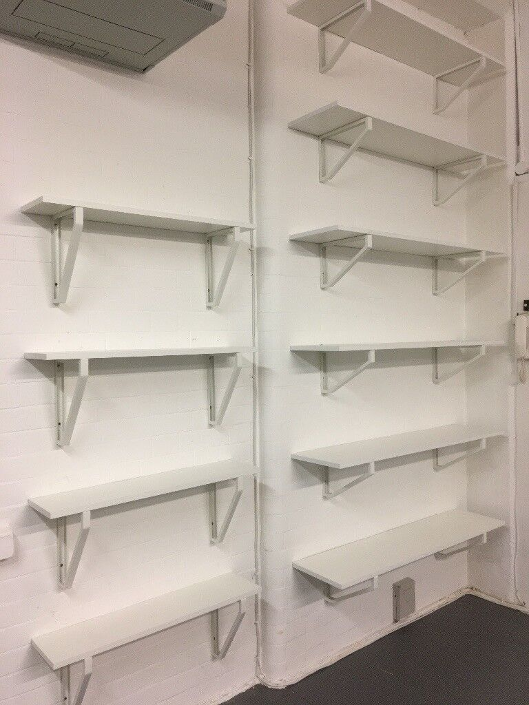 11 x White Wooden Shelves - size, metal frame mounts included