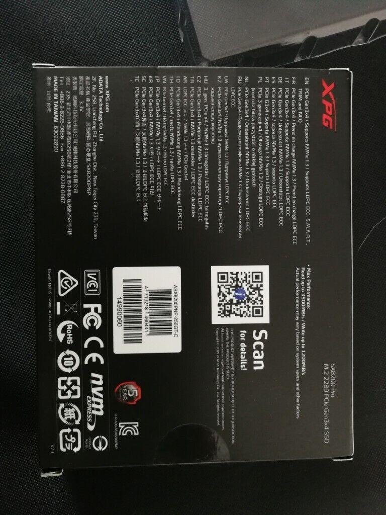 New SSD 256GB ADATA XPG SX8200 Pro M 2 Nvme   in Gilmerton, Edinburgh    Gumtree