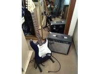 Fender Squire Electric Guitar And Fender Amplifier