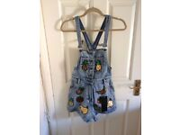 Kuccia Denim Dungaree Shorts With Sequin Fruit Patches - NEW - Size 6