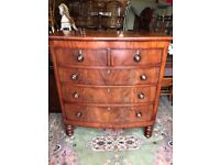 Antique Victorian Mahogany Bow Front Chest Of Drawers - See Delivery