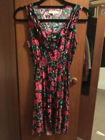 Pink/red and green floral dress (UK size 8)