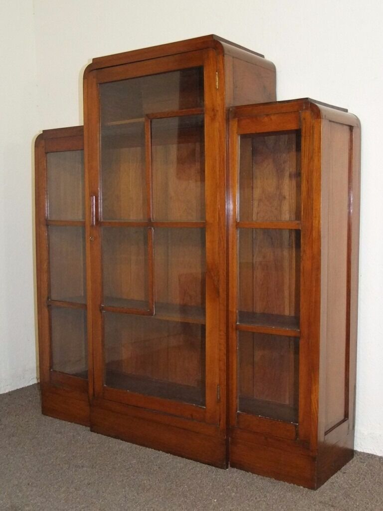 Vintage 1930 S Art Deco Golden Oak Glazed Bookcase Cabinet Free Delivery In The Glasgow Area