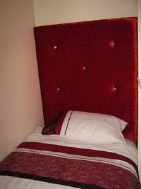 new single headboard red crushed velvet with crystal buttons