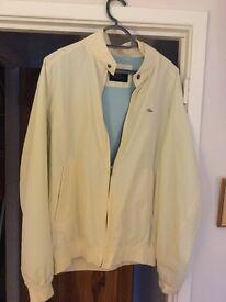 Lacoste Men's bomber style jacket. Cream. Hardly worn. Size large.