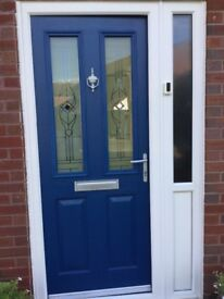 Blue Front Door and side panel
