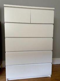 IKEA Malm 6 Drawer Chest - White