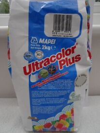 MAPEI ULTRACOLOR PLUS TILE GROUT. SILVER-GREY. 111. 2KG BAG. OPENED BAG WITH 41G USED. RRP £8