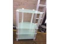 Corner shelving unit - frosted glass