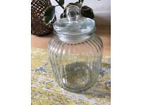 Large Ribbed Glass Jar - Never Used