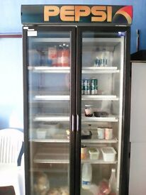 double door display fridge