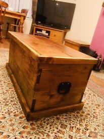 Solid handmade reclaimed pine blanket box
