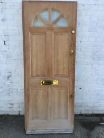 Wooden front Door with 4 small glass pieces in top ( 80 cm w x 203 cm h)