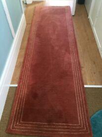 Carpet Runner, 100% wool. Deep quality John Lewis. Colour rust.