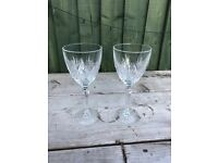 Crystal cut wine glasses